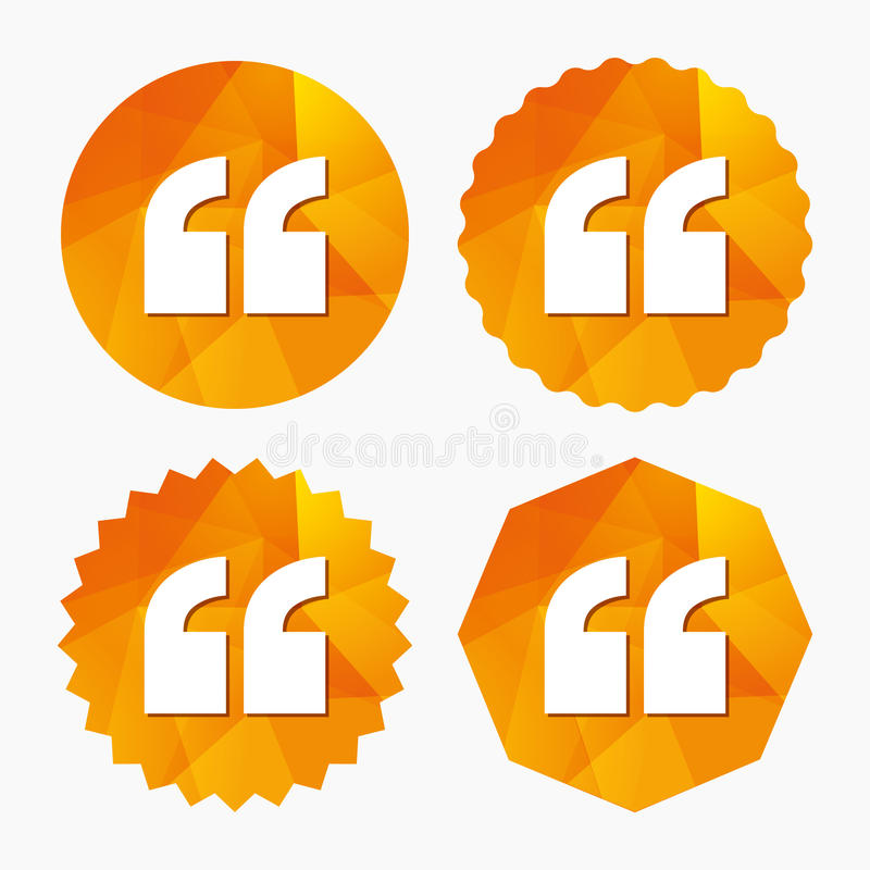 Quote sign icon. Quotation mark symbol. Double quotes at the beginning of words. Triangular low poly buttons with flat icon. Vector stock illustration
