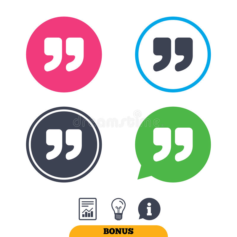 Quote sign icon. Quotation mark symbol. Double quotes at the end of words. Report document, information sign and light bulb icons. Vector stock illustration