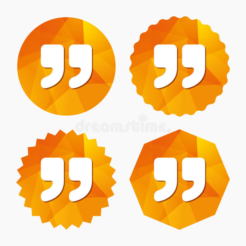 Quote sign icon. Quotation mark symbol. Double quotes at the end of words. Triangular low poly buttons with flat icon. Vector vector illustration