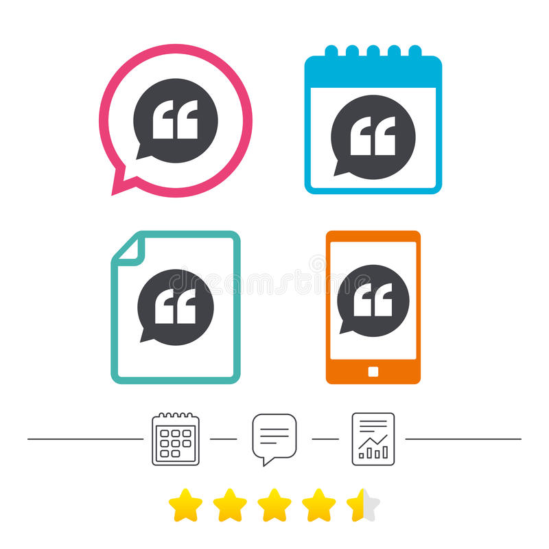 Quote sign icon. Quotation mark symbol. Quote sign icon. Quotation mark in speech bubble symbol. Double quotes. Calendar, chat speech bubble and report linear vector illustration