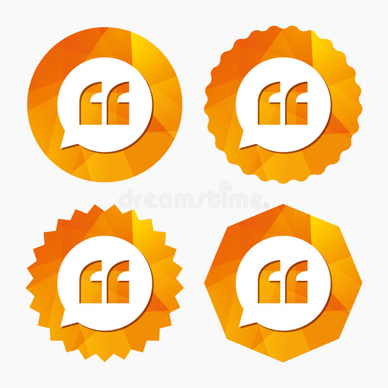 Quote sign icon. Quotation mark symbol. Quote sign icon. Quotation mark in speech bubble symbol. Double quotes. Triangular low poly buttons with flat icon vector illustration