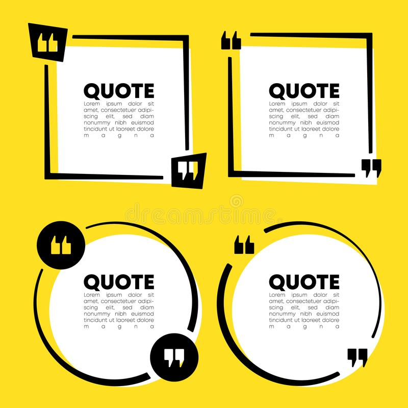 Quote speech bubble template set. Quotes form and text box isolated on yellow background. Vector illustration stock illustration