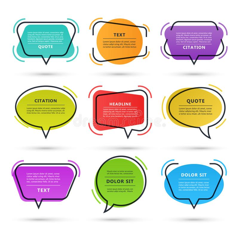 Free Quote Speech Bubble, Text Box, Citation Frame, Colorful Message Banner Isolated On White Background. Vector Illustration Stock Photography - 147106062