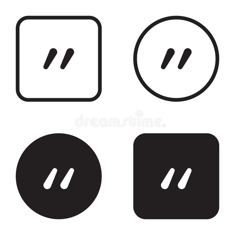 Quote symbol icon set. Quotation paragraph mark. Sign of double comma stock illustration