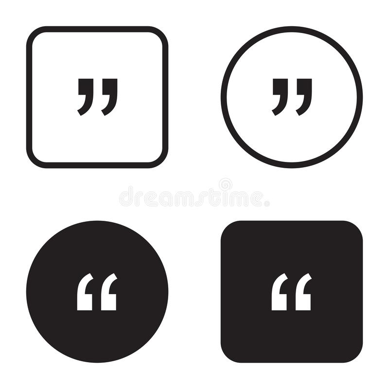 Quote symbol icon set. Quotation paragraph mark. Sign of double comma royalty free illustration