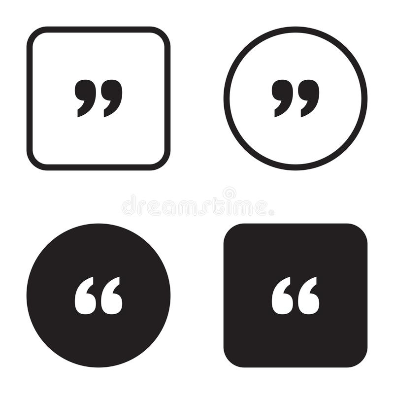 Quote symbol icon set. Quotation paragraph mark. Sign of double comma vector illustration