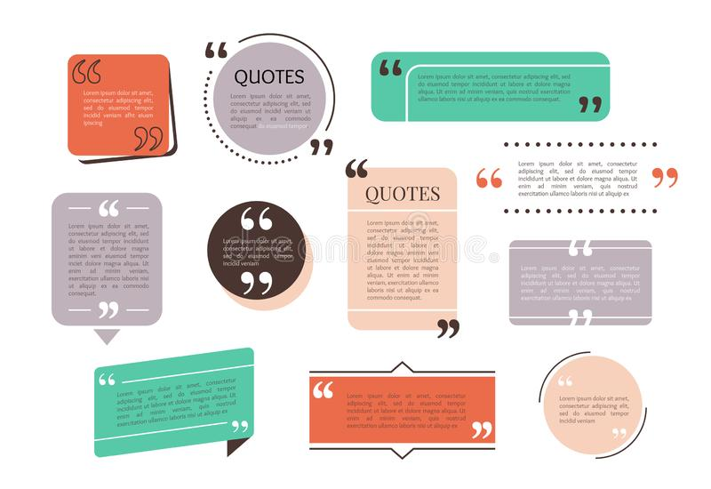 Quote text box, bubble for comment, mark design. Set of quotation banner template in flat modern style. Vector. Illustration background royalty free illustration