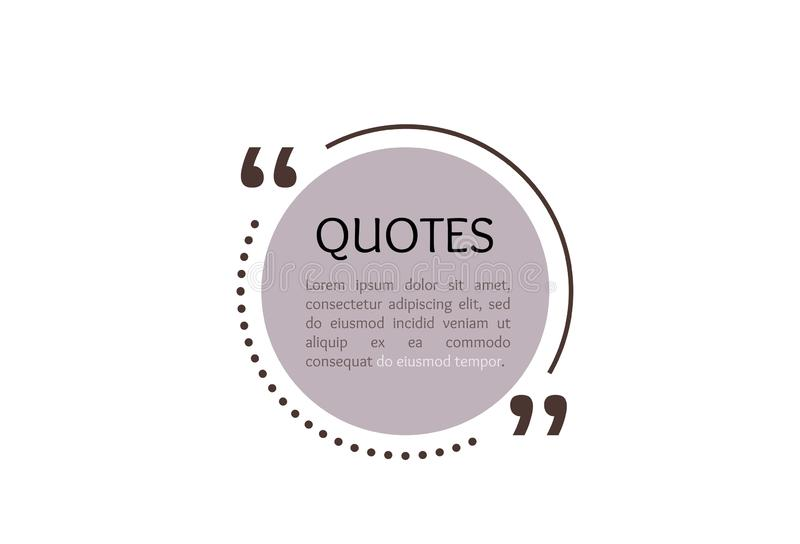 Quote text box, circle bubble for comment, mark design. Quotation banner template in flat modern style. Vector. Illustration background royalty free illustration