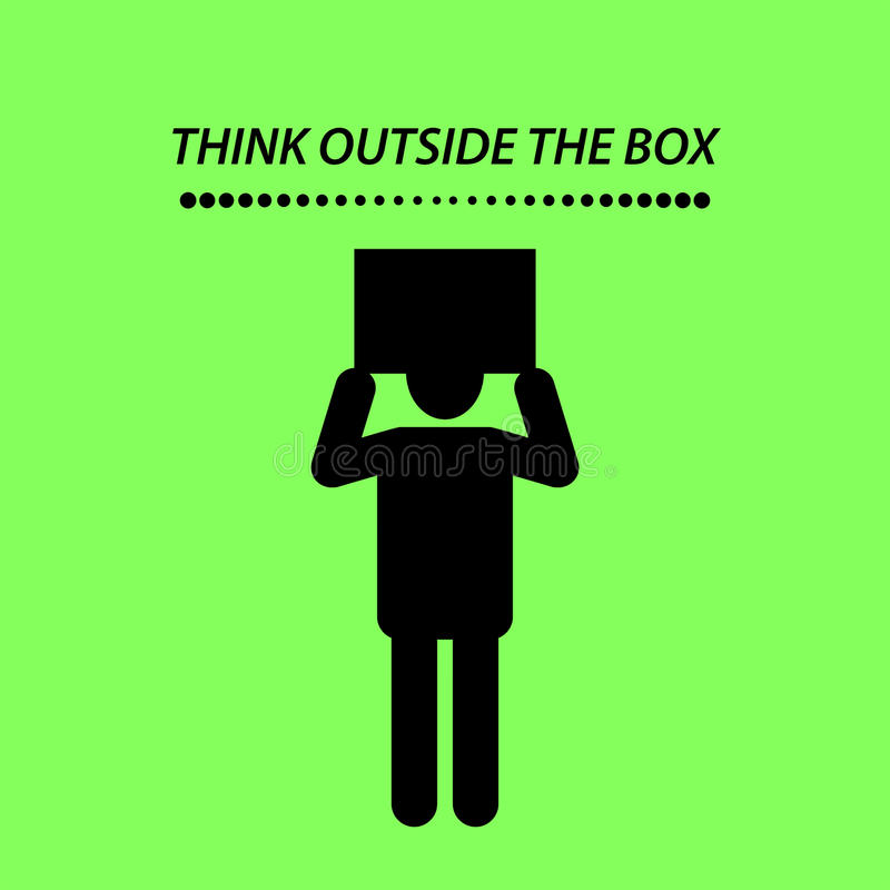 Quote, THINK OUTSIDE THE BOX. stock illustration