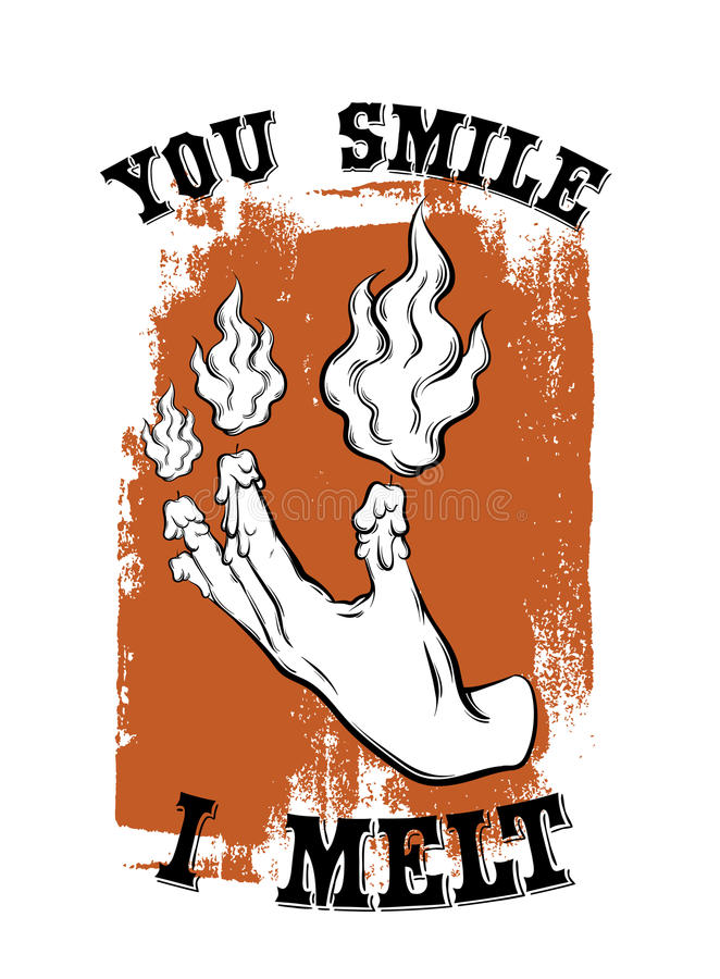 Quote typographical background ` you smile I melt` . vector illustration