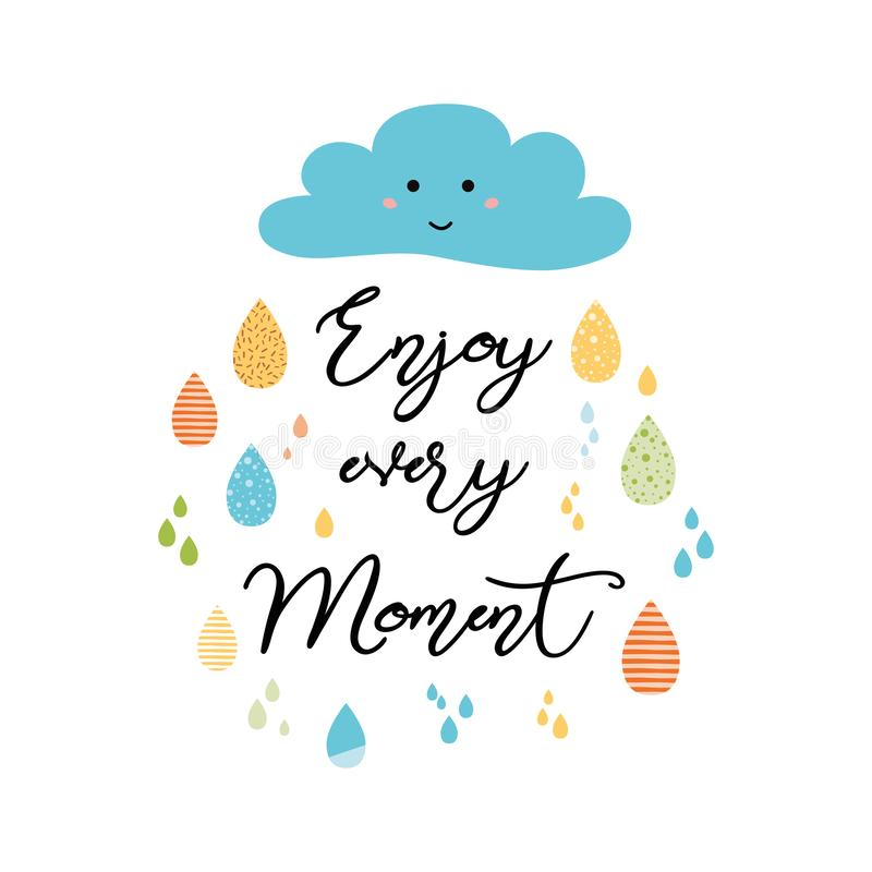 Quote Typographical Poster Template, vector design Enjoy every moment vector illustration