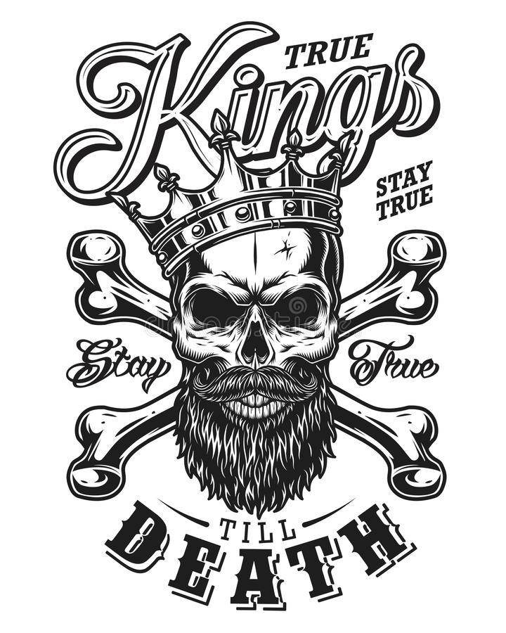 Quote typography with black and white king skull in crown with beard royalty free illustration