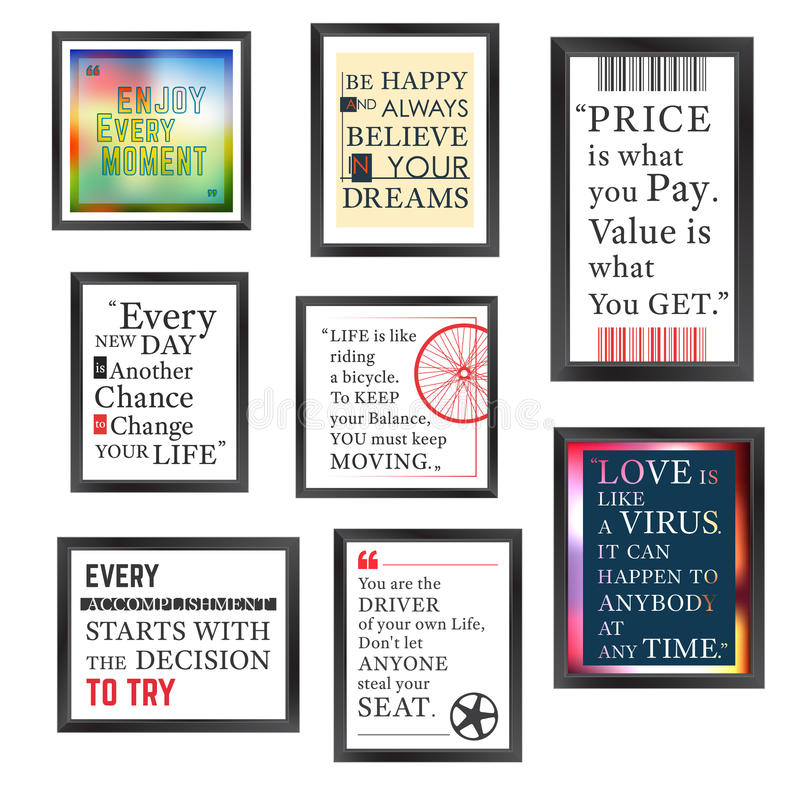 Quotes frame set. Quotes motivation frame designed. Quote motivational square template. Inspirational quotes. Text box layout. Vector illustration royalty free illustration