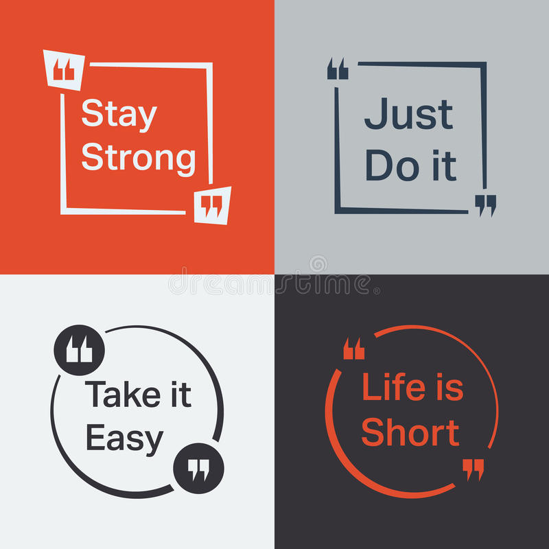 Quotes. Quote set. Quote Bubble with various slogan. Vector illustration royalty free illustration