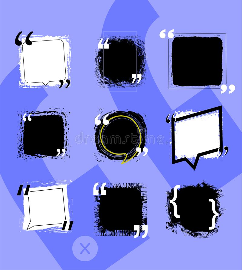 Quotes speech bubbles with frames and distressed rough brush texture vector set. royalty free illustration