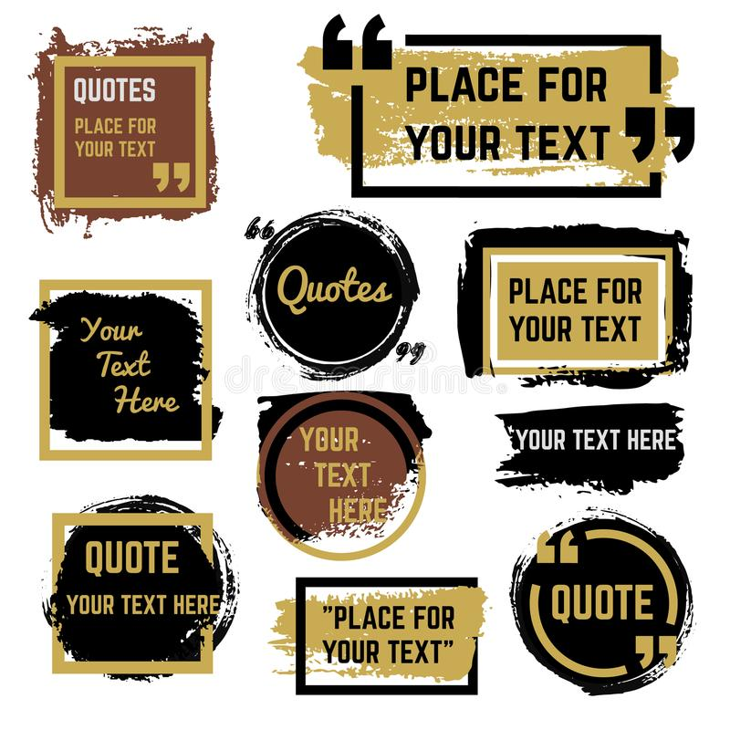 Quotes speech bubbles with frames and distressed rough brush texture vector set stock illustration