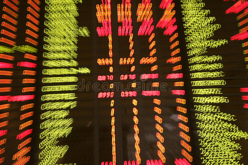 Quotes at a stock exchange. Display of share market prices at a share market exchange royalty free stock photography