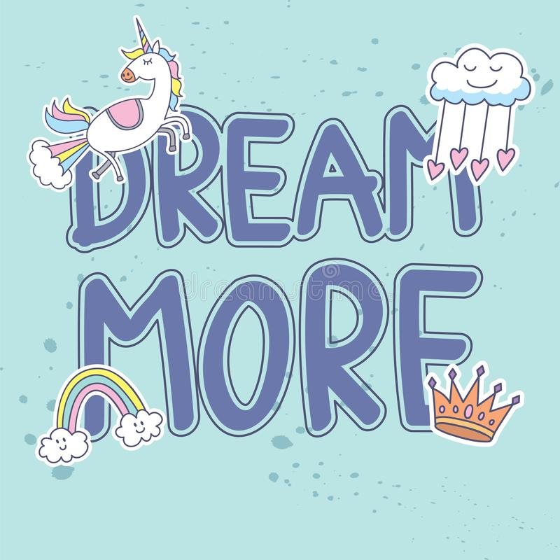 Quotes t-shirt design with cute patches stock illustration