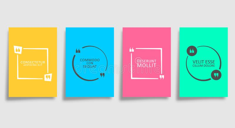 Quotes textbox templates. Set of colored backgrounds with quote forms design for the cover, flyer, poster, brochure, typography vector illustration