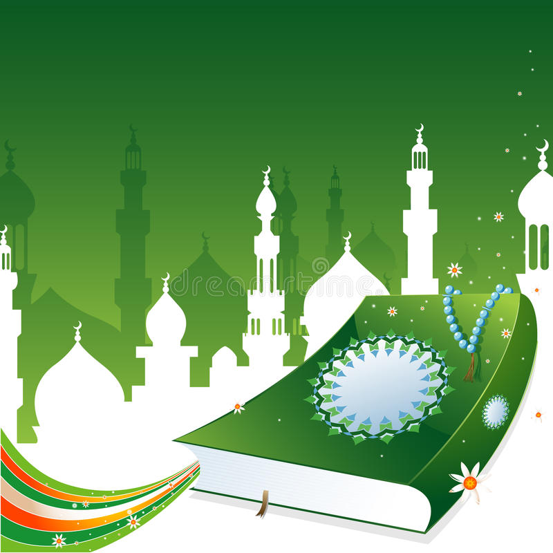 Quran. Design of Islamic holy book Quran stock illustration