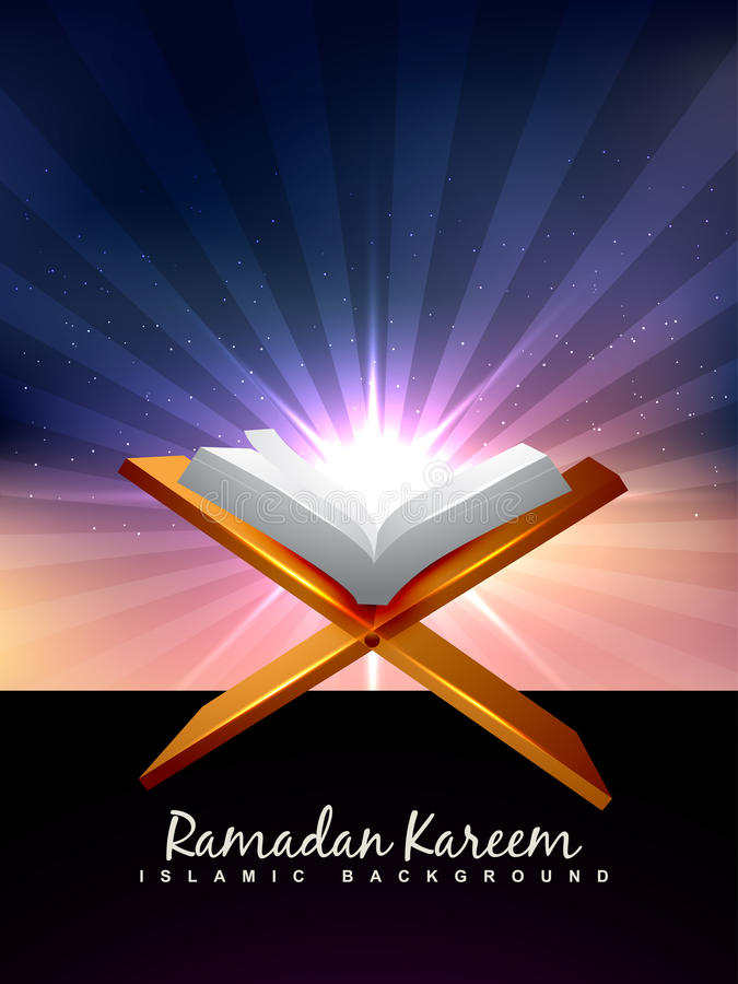 Quran book. Vector holy book of quran background stock illustration