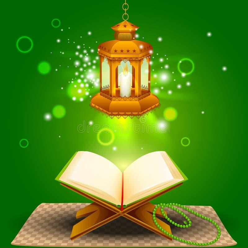 Quran con la lámpara en el fondo de Eid Mubarak ilustración del vector