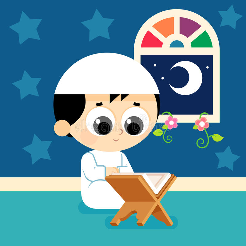 Quran de lecture d'enfant illustration libre de droits