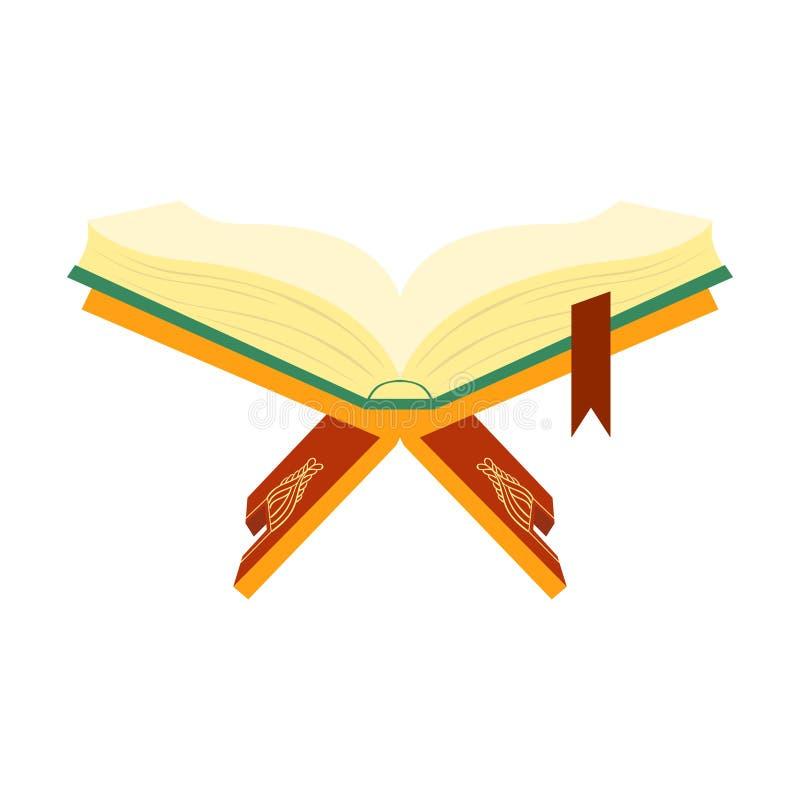 Quran helig bok av muselmaner på en träbokställning vektor för semester för färgrik begreppsillustration avslappnande vektor illustrationer