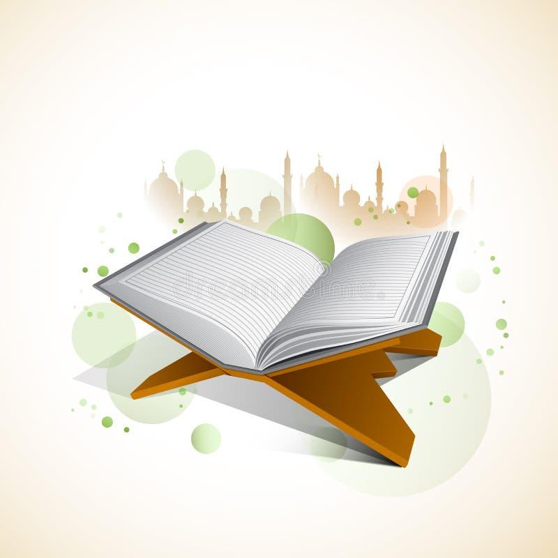 Quran islámico santo Shareef del libro para la celebración de Ramadan Kareem stock de ilustración