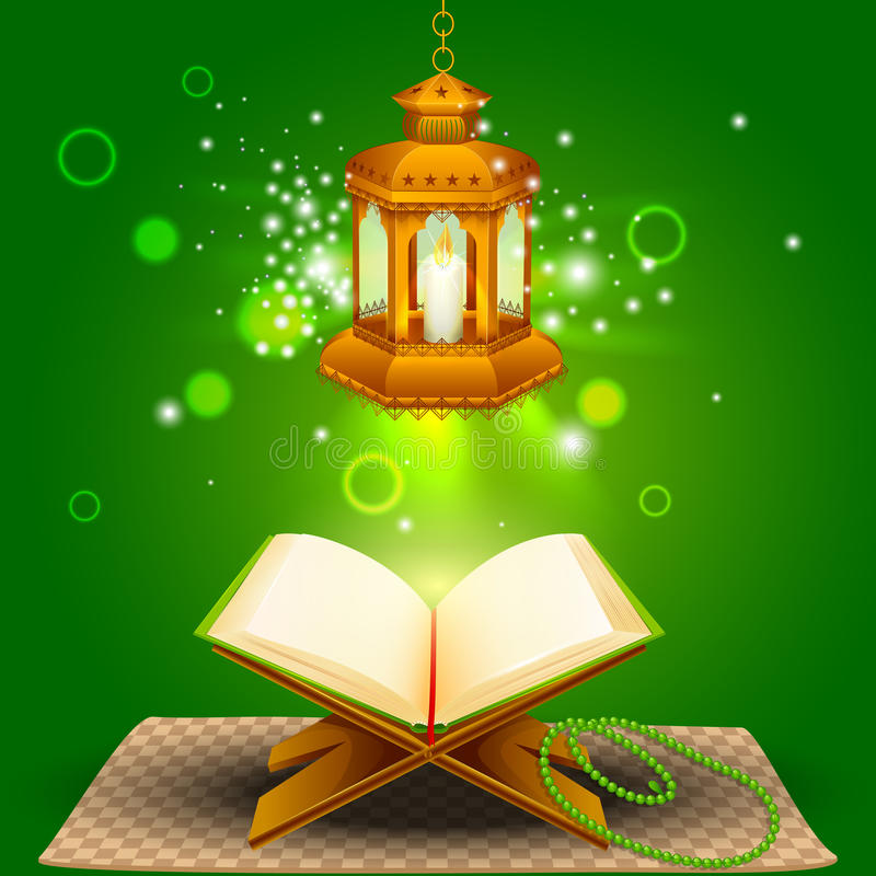 Quran with lamp on Eid Mubarak background. Illustration of holy book of Quran with lamp on Eid Mubarak vector illustration