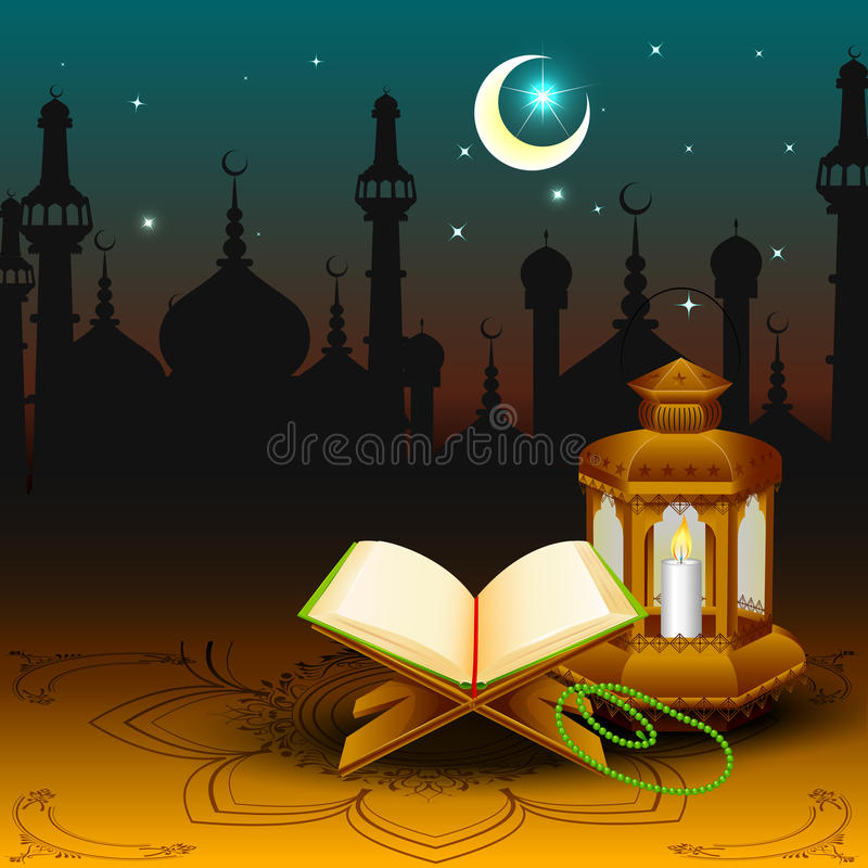 Quran with lamp on Eid Mubarak background. Vector illustration of Quran on Eid Mubarak ( Blessing for Eid vector illustration