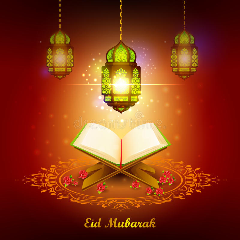 Quran with lamp on Eid Mubarak background. Vector illustration of holy book of Quran with lamp on Eid Mubarak Blessing for Eid background royalty free illustration