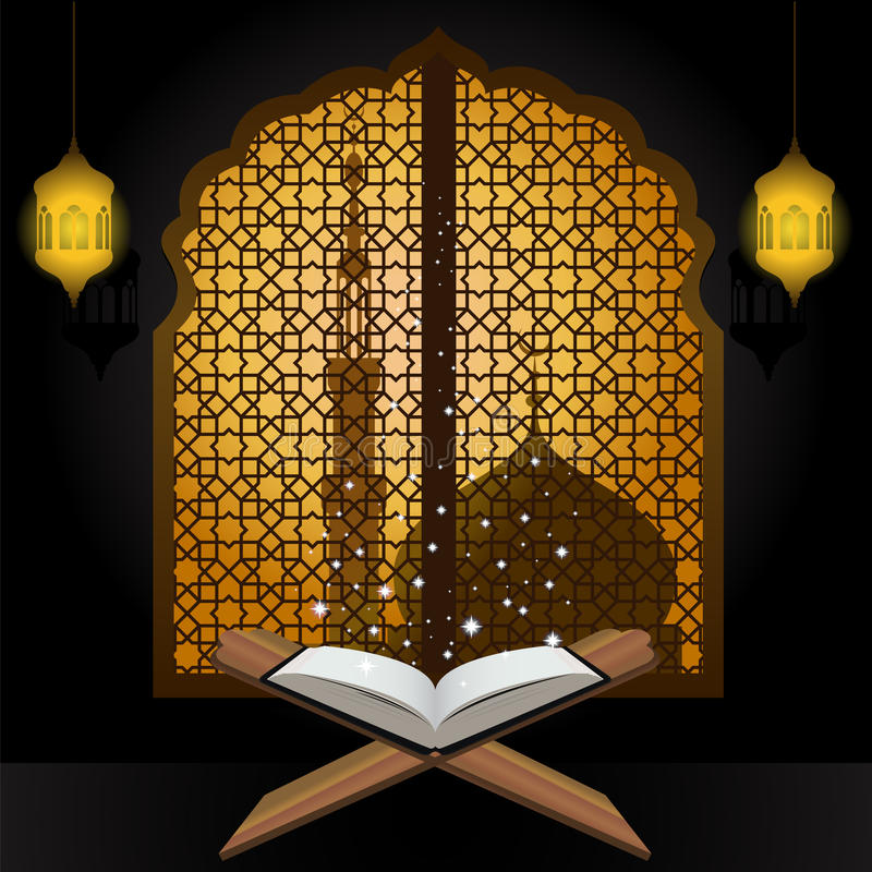 Quran light star lantern and mosque in window arabic vector illustration