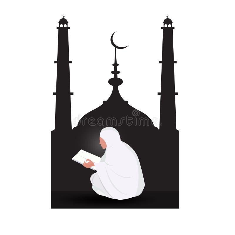 Quran musulmán de la lectura de la mujer en fondo de la mezquita ilustración del vector