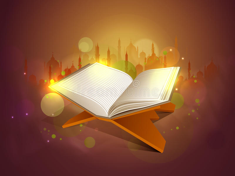 Quran Shareef för islamisk festivalberöm royaltyfri illustrationer