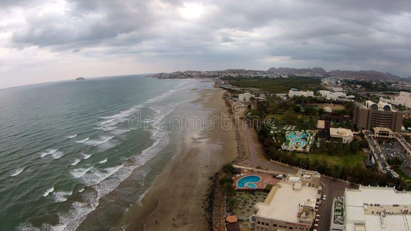 Qurum海滩马斯喀特阿曼 免版税库存图片