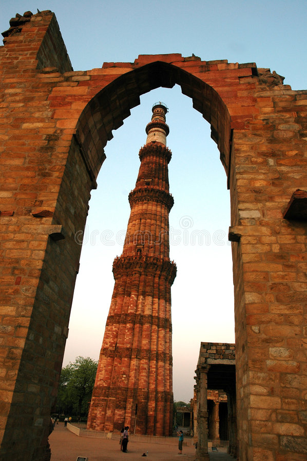 Qutab minar de Delhi. images stock