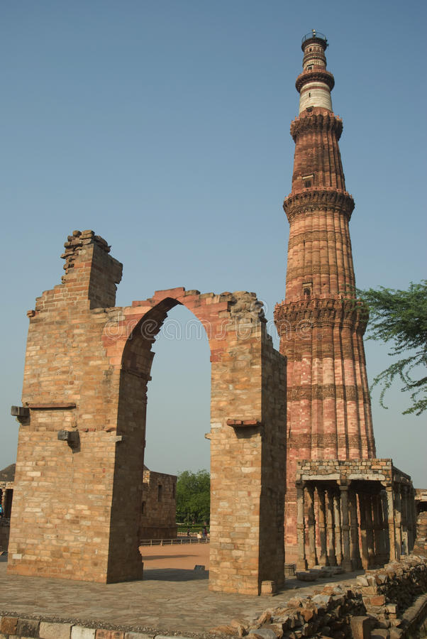 Qutab Minar, Delhi, India fotografie stock libere da diritti