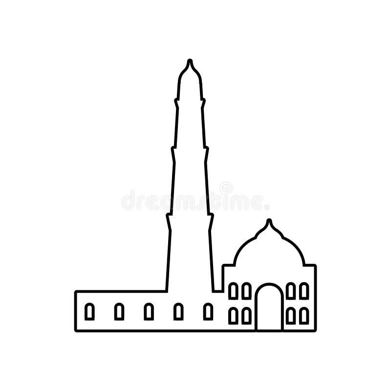 Qutb Minar ikona E Kontur, cienka kreskowa ikona dla strona internetowa projekta i rozw?j, ilustracji