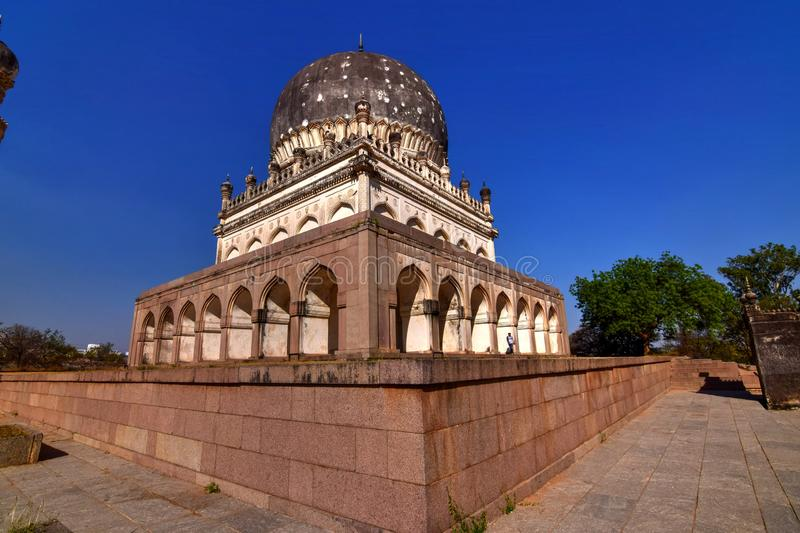 Qutb Shahi tombs. The Qutb Shahi tombs contain the tombs and mosques built by the various kings of the Qutb Shahi dynasty stock photo