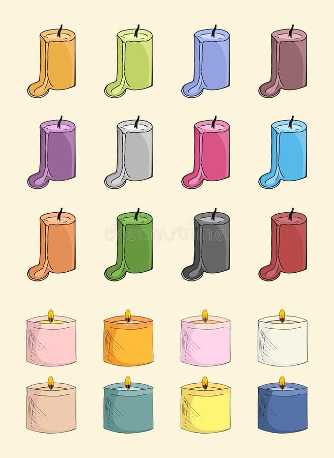 Qute杂色蜡烛 库存图片