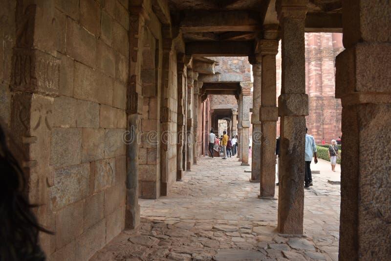 Qutub Minar尖塔在德里,印度 免版税图库摄影