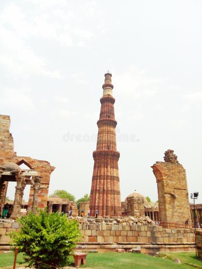 Qutub minar. At delhi in summer day stock images