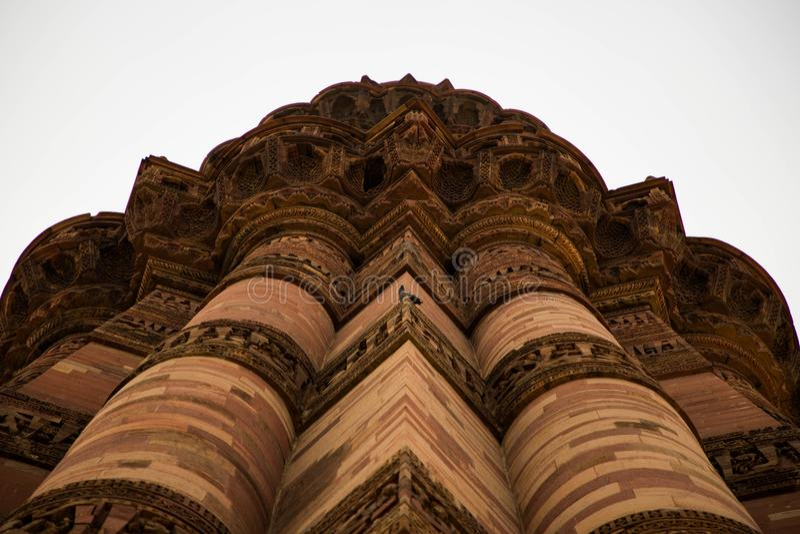 Qutub minar. Lower angle view of qutub minar , Delhi royalty free stock image