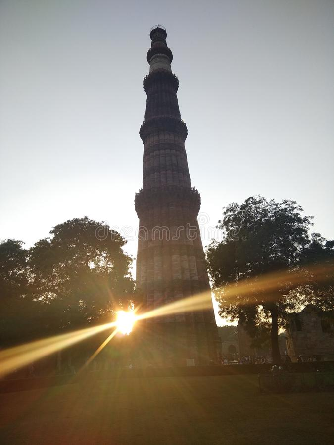 Qutub Minar New Delhi India. Qutub Minar is a UNESCO world heritage site which is 73 meter tall minaret built by the two mamluk dnyasti emperor royalty free stock image