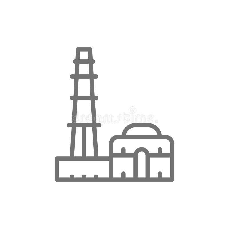 Qutub Minar, oriëntatiepunt de lijnpictogram van van New Delhi, India stock illustratie