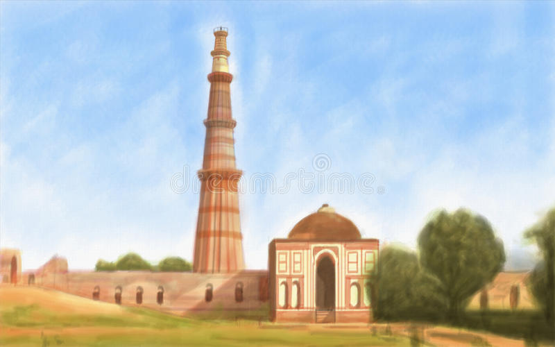Qutub Minar. Painting style illustration of Qutub Minar India stock photos