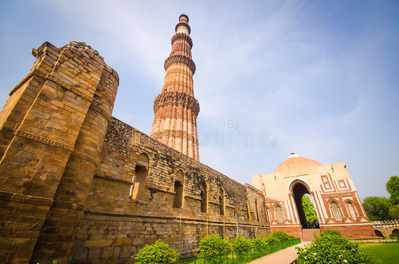 Qutub minar. The tallest brick tower in the world in india royalty free stock photo