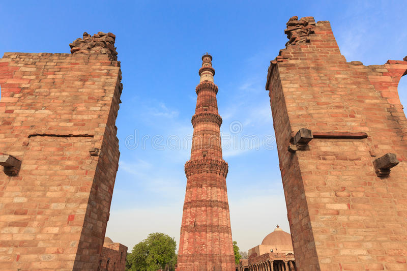 Qutub Minar. The tallest minaret in India is a marble and red sandstone tower that represents the beginning of Muslim rule in the country stock photos