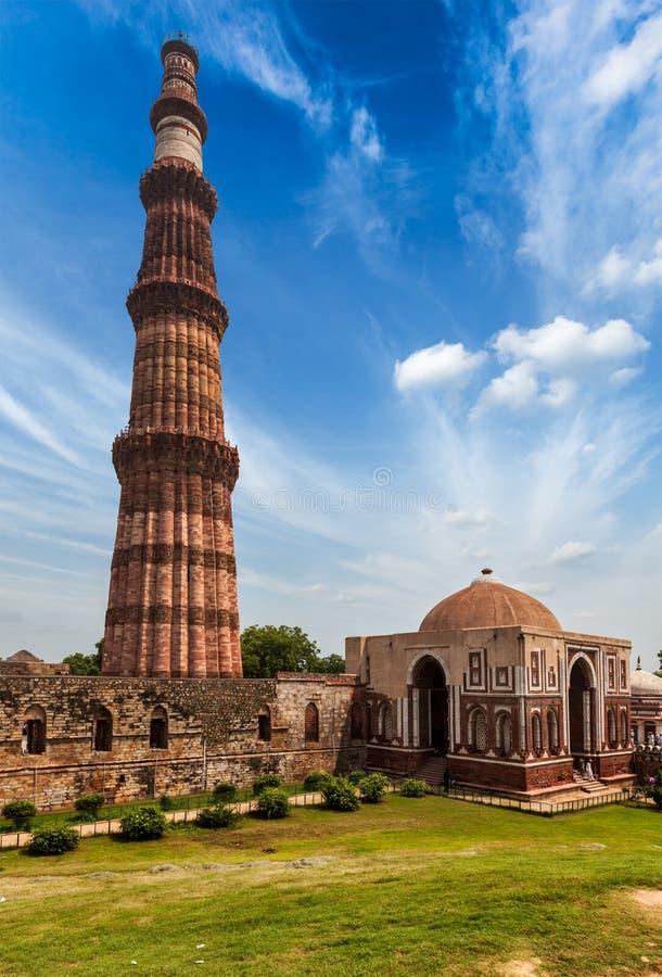Qutub Minar. The tallest minaret in India, UNESCO World Heritage Site. Qutub Complex, Delhi, India stock images